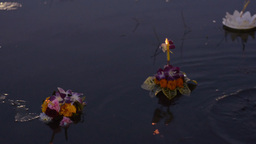 Hand Releasing a Krathong During the Loi Krathong Stock Video Footage