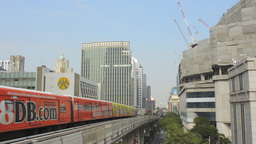 Trains Arriving at a Skytrain Station in Bangkok Footage