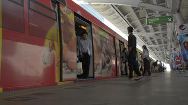 Skytrain Travelling Through Bangkok, Thailand Stock Video Footage