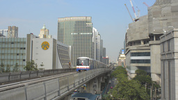 Train Arriving at a BTS Skytrain Station in Bangko Footage
