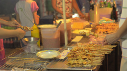 Street Vendor Making Green Mango Salad in Bangkok Stock Video Footage