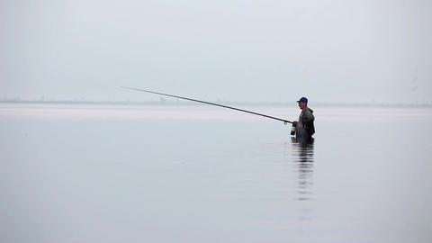 morning fishing Stock Video Footage