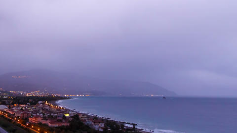 Dawn over the coast of Sicily. Italy. Time Lapse Stock Video Footage