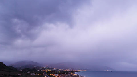 Dawn over the coast of Sicily. Italy. Time Lapse. Stock Video Footage