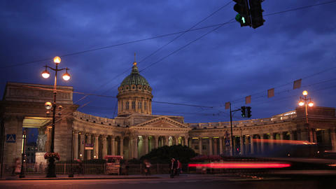 Time lapse of traffic near Kazan Cathedral Footage