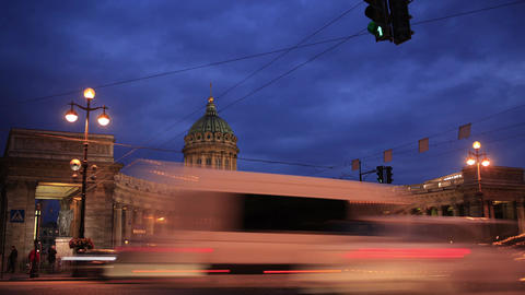 Time lapse of traffic near Kazan Cathedral Stock Video Footage