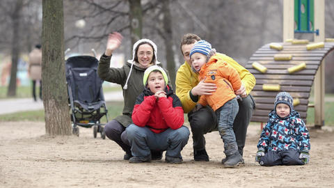 Family of five waving with the hands Stock Video Footage