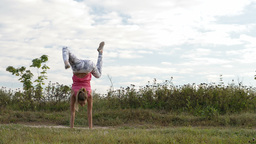 Girl training outdoor Stock Video Footage