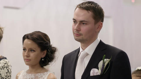 Bridal pair during wedding ceremony Stock Video Footage