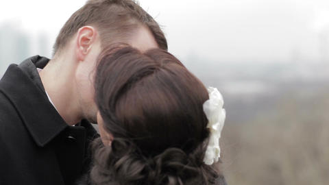 Bridal pair kissing Stock Video Footage