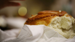 New-baked loaf of bread Stock Video Footage