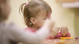 Little girl in the nursery Footage