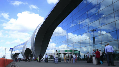 Time lapse of airport Domodedovo, Moscow Stock Video Footage