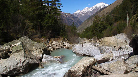 Mountain river flowing in the valley Stock Video Footage