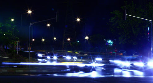 4 K:Time lapse motion of cars at night Stock Video Footage