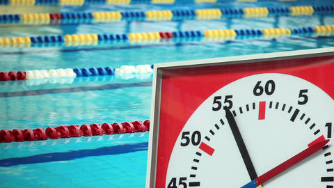 Sports Stopwatch in the Swimming pool Stock Video Footage