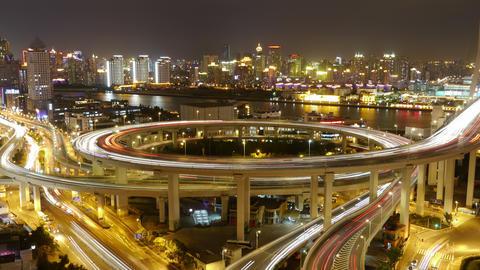 4k-Time lapse of traffic lights trail & vehicles on shanghai overpass bridge Animation
