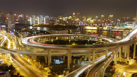 4k-Time lapse of traffic lights trail & vehicles on... Stock Video Footage