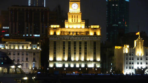 Brightly lit ships cruising Shanghai Bund at night,old... Stock Video Footage