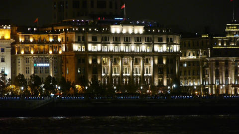 shanghai bund old europe style building & red flag at... Stock Video Footage