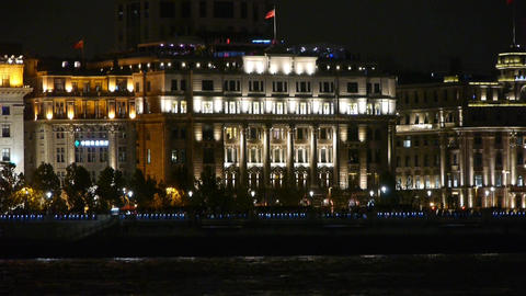 shanghai bund old europe style building & red flag at night Animation