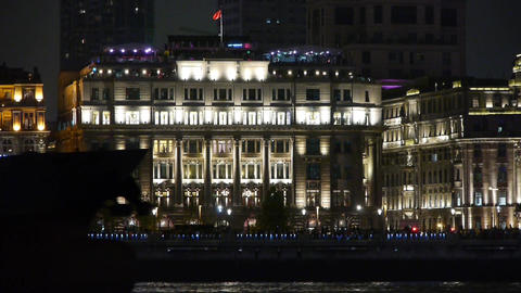 large ship passing Shanghai Bund at night,old style... Stock Video Footage