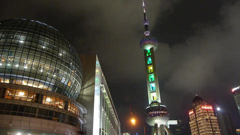 shanghai orient pearl TV tower at night,time lapse flying... Stock Video Footage