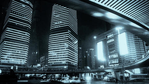 shanghai night traffic & skyscraper,light trails of... Stock Video Footage