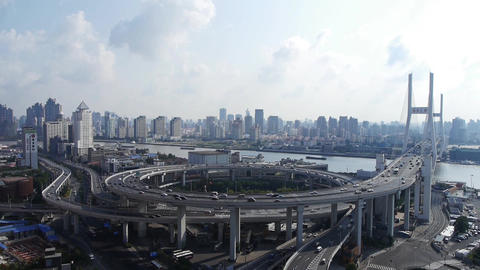time lapse,Aerial view of shanghai nanpu overpass traffic interchange Animation