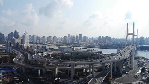 time lapse,Aerial view of shanghai nanpu overpass traffic... Stock Video Footage