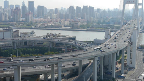 Aerial View Of Urban Overpass Traffic Interchange,busy Shipping stock footage