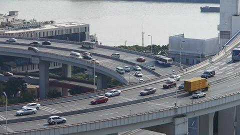 closeup of urban overpass traffic interchange Stock Video Footage