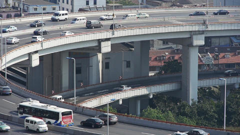 closeup of urban overpass traffic interchange,Shanghai... Stock Video Footage