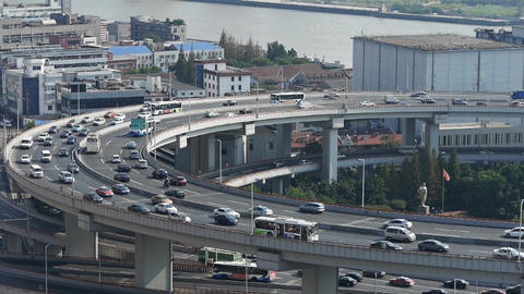 time lapse,closeup of urban overpass traffic... Stock Video Footage