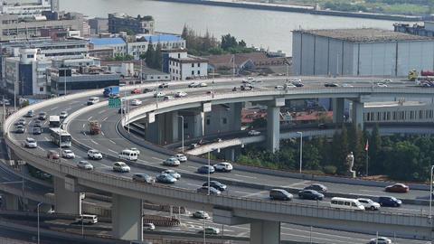 time lapse,closeup of urban overpass traffic interchange,Crowded Street Animation