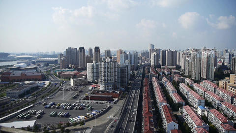 time lapse,shanghai traffic,urban building background,china Stock Video Footage