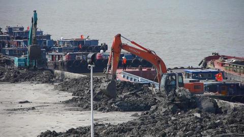 excavator working & dumper truck on construction... Stock Video Footage