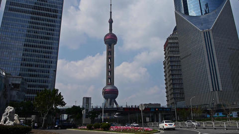shanghai lujiazui business center,skyscraper & orient pearl TV tower Animation