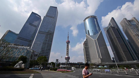 shanghai lujiazui business center,skyscraper & orient... Stock Video Footage