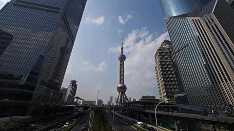 shanghai lujiazui business center,skyscraper & orient... Stock Video Footage