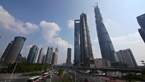 urban traffic,shanghai lujiazui finance center &... Stock Video Footage