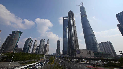 urban traffic,shanghai lujiazui finance center &... Stock Video Footage