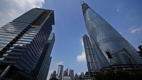 time lapse,shanghai lujiazui finance center & skyscraper,flying clouds Animation