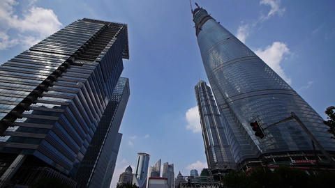 time lapse,shanghai lujiazui finance center &... Stock Video Footage