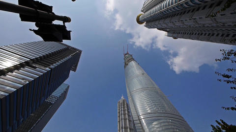 shanghai lujiazui finance center & skyscraper,rotate the lens Animation