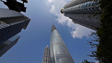 shanghai lujiazui finance center & skyscraper,rotate... Stock Video Footage