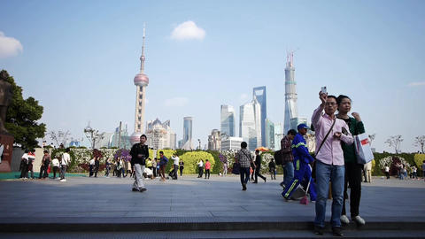 time lapse,tourist tour the Huangpu River,Shanghai... Stock Video Footage