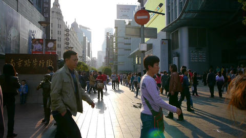 extremely busy nanjing road,pedestrian mall,Shanghai,China Animation