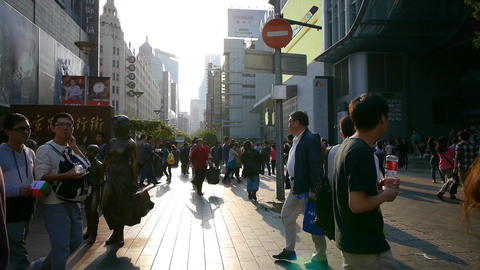 extremely busy nanjing road,pedestrian mall,Shanghai,China Stock Video Footage