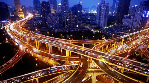 Time lapse,traffic lights trail & vehicles on... Stock Video Footage